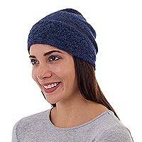 100% alpaca hat, 'Flowery Hillside in Navy' - 100% Alpaca Wool Embroidered Floral Hat in Navy from Peru