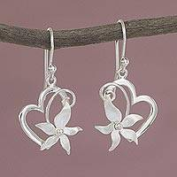Sterling silver heart dangle earrings, 'Flowering Rapture' - Sterling Silver Floral Heart Earrings Hand Crafted in Peru