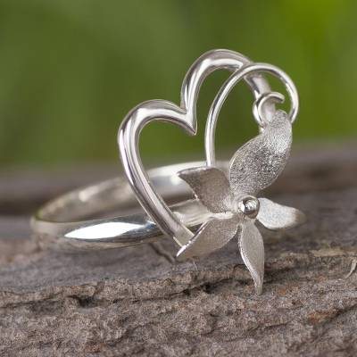 bold designer rings - Sterling Silver Floral Heart Cocktail Ring Crafted in Peru