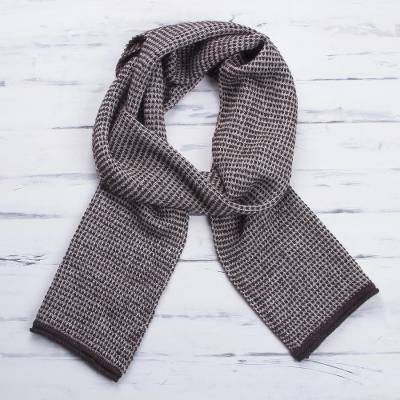 100% alpaca scarf, 'Natural Chocolate' - 100% Alpaca Wool Scarf in Natural and Chocolate from Peru