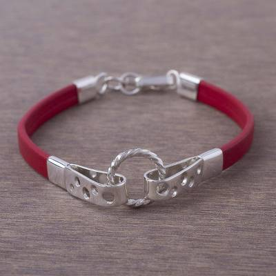 Leather and sterling silver wristband bracelet, 'Modern Attraction' - Crimson Leather and 925 Sterling Silver Wristband Bracelet