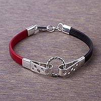 Leather and sterling silver wristband bracelet, 'Modern Mix' - Black and Crimson Leather Sterling Silver Wristband Bracelet