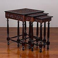 Leather and wood nesting tables, 'Avian Garden' (set of 3) - Three Leather and Wood Nesting Tables with Bird Motifs