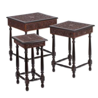 Wood and leather nesting tables, 'Garden Magic' (set of 3) - Set of 3 Wood and Leather Nesting Tables from Peru