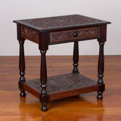 Leather and wood end table, 'Sweet Desires' - Leather and Wood End Table with Floral Motifs from Peru