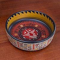 Ceramic decorative bowl, 'Divine Hummingbird' - Ceramic Decorative Bowl with Nazca Bird from Peru