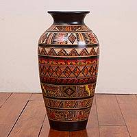 Ceramic decorative vase, 'Inca Civilization' - Handcrafted Geometric Ceramic Decorative Vase from Peru