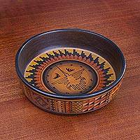 Ceramic decorative bowl, 'Celestial Hummingbird' - Ceramic Decorative Bowl with Nazca Bird from Peru