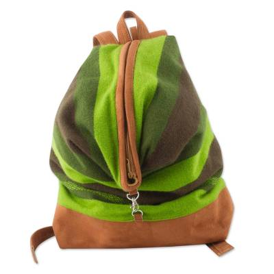 Hand Woven Green Alpaca Blend and Suede Backpack from Peru