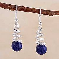 Sodalite dangle earrings, 'Andean Whirligig' - Contemporary Sodalite and Sterling Earrings Crafted in Peru