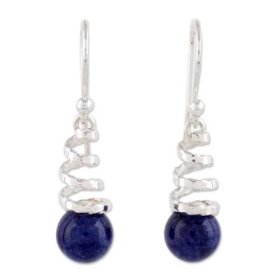 Contemporary Sodalite and Sterling Earrings Crafted in Peru