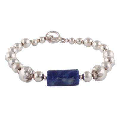 Sterling Silver and Sodalite Pendant Bracelet from Peru