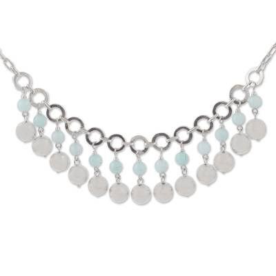 Amazonite and Sterling Silver Waterfall Necklace from Peru