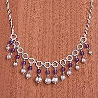 Amethyst waterfall necklace, 'Queen Beads' - Amethyst and Sterling Silver Waterfall Necklace from Peru