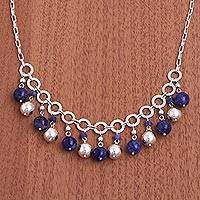 Sodalite waterfall necklace, 'Ocean Desire' - Sodalite and Sterling Silver Waterfall Necklace from Peru