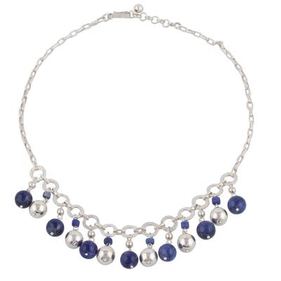 Sodalite and Sterling Silver Waterfall Necklace from Peru