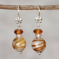 Art glass dangle earrings Rings of Saturn (Peru)