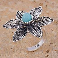 Amazonite filigree cocktail ring, 'Flower Veins' - Amazonite Floral Filigree Cocktail Ring from Peru