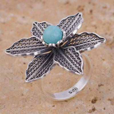 fashion key rings - Amazonite Floral Filigree Cocktail Ring from Peru