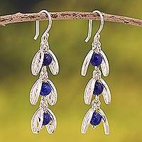 Lapis lazuli filigree dangle earrings, 'Glowing Eden' - Lapis Lazuli Filigree Dangle Earrings from Peru