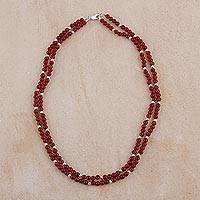 Carnelian beaded necklace, 'Glowing Sun' - Carnelian and Sterling Silver Beaded Necklace from Peru