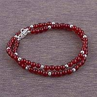 Carnelian wrap bracelet, 'Sunlight Embers' - Carnelian and Sterling Silver Wrap Bracelet from Peru