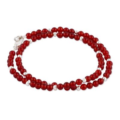 Carnelian and Sterling Silver Wrap Bracelet from Peru