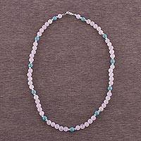 Rose quartz beaded necklace, 'Glowing Garden' - Rose Quartz and Sterling Silver Necklace from Peru