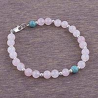 Rose quartz beaded bracelet, 'Glowing Garden' - Rose Quartz and Sterling Silver Beaded Bracelet from Peru