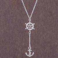 Silver Y-necklace, 'Drifting Ashore' - 950 Silver Nautical Anchor Y-Necklace from Peru