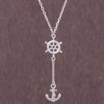 Sterling silver Y-necklace, 'Drifting Ashore' - Sterling Silver Nautical Anchor Y-Necklace from Peru