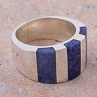 Sodalite band ring, 'Courageous Color' - Handcrafted Andean Silver Modern Sodalite Ring