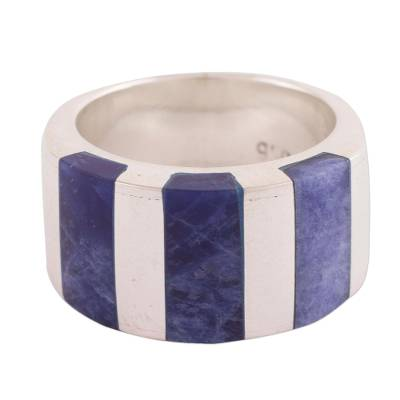 Handcrafted Andean Silver Modern Sodalite Ring