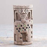 Papier mache sculpture, 'Chancay Totem' - Papier Mache and Gemstone Chancay Sculpture from Peru