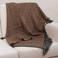 Throw blanket, 'Diamond Embrace' - Throw Blanket with Diamond Motifs in Slate and Spice