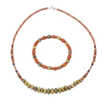Serpentine and Ceramic Beaded Jewelry Set from Peru