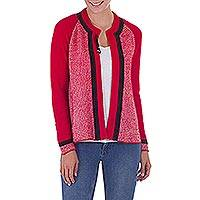 Image of 100% alpaca and leather accent cardigan sweater, 'Bold Heart' (Peru)