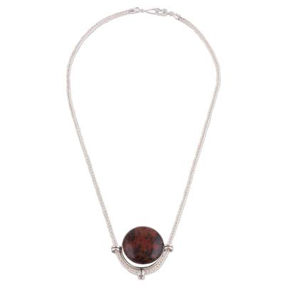 Andean Sterling Silver Necklace with Mahogany Obsidian