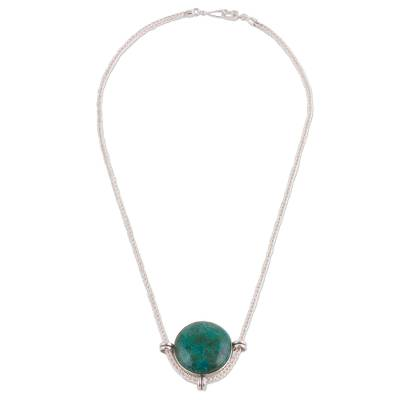 Andean Chrysocolla and Sterling Silver Pendant Necklace
