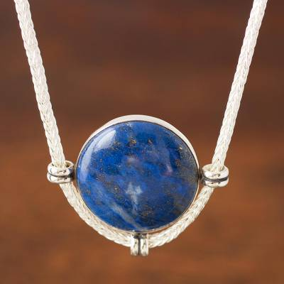 Lapis lazuli pendant necklace, 'Essence of Time' - Peruvian Sterling Silver Pendant Necklace with Lapis Lazuli