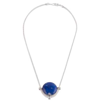 Peruvian Sterling Silver Pendant Necklace with Lapis Lazuli