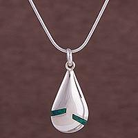 Chrysocolla pendant necklace, 'Sleek Drop' - Chrysocolla and Sterling Silver Pendant Necklace from Peru