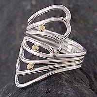 Gold Accent Sterling Silver Cocktail Ring Lyrical Queen (peru)