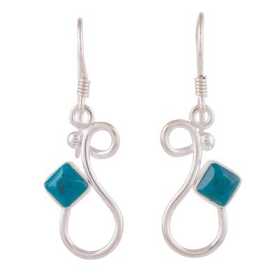 Handcrafted Silver and Chrysocolla Modern Dangle Earrings