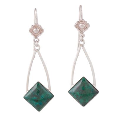 Handcrafted Chrysocolla Dangle Earrings in Sterling Silver