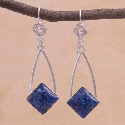 Lapis lazuli dangle earrings, 'Pacific Diamond' - Modern Artisan Crafted Lapis Lazuli and Silver 925 Earrings