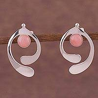 Rose quartz drop earrings, 'Caress of an Angel' - Rose Quartz and Sterling Silver Drop Earrings from Peru