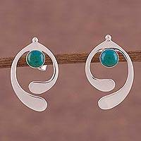Chrysocolla drop earrings, 'Caress of an Angel' - Chrysocolla and Sterling Silver Drop Earrings from Peru