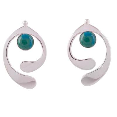 Chrysocolla and Sterling Silver Drop Earrings from Peru