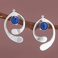 Lapis lazuli drop earrings, 'Caress of an Angel' - Lapis Lazuli and Sterling Silver Drop Earrings from Peru